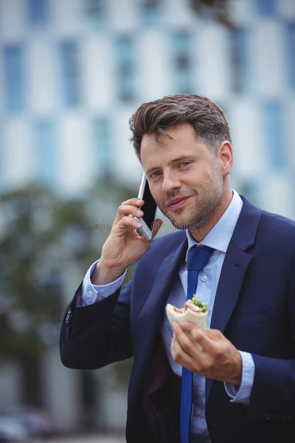 Πορτρέτο της όμορφης ομιλίας επιχειρηματιών στο κινητό τηλέφωνο στοκ φωτογραφία με δικαίωμα ελεύθερης χρήσης