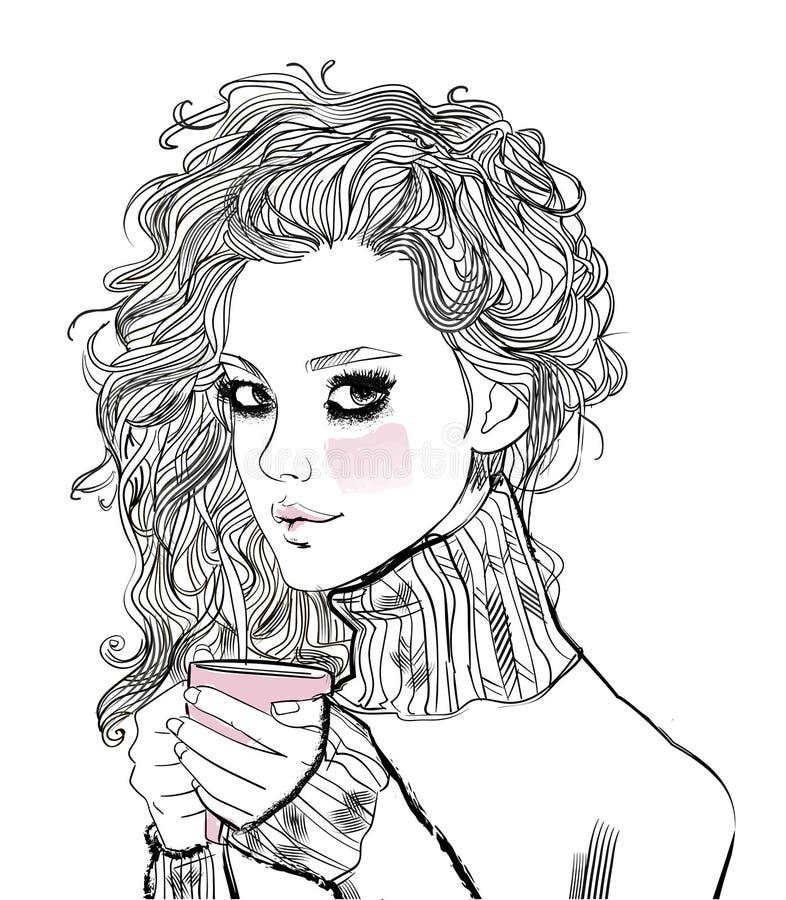 Πορτρέτο της beaitiful νέας γυναίκας με το φλυτζάνι καφέ απεικόνιση αποθεμάτων