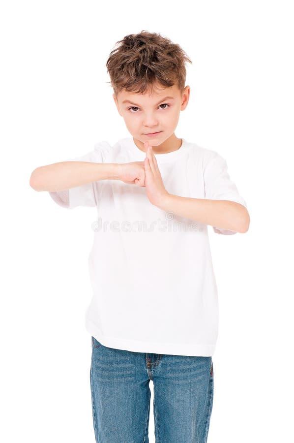 Πορτρέτο του αγοριού εφήβων στο λευκό στοκ εικόνες