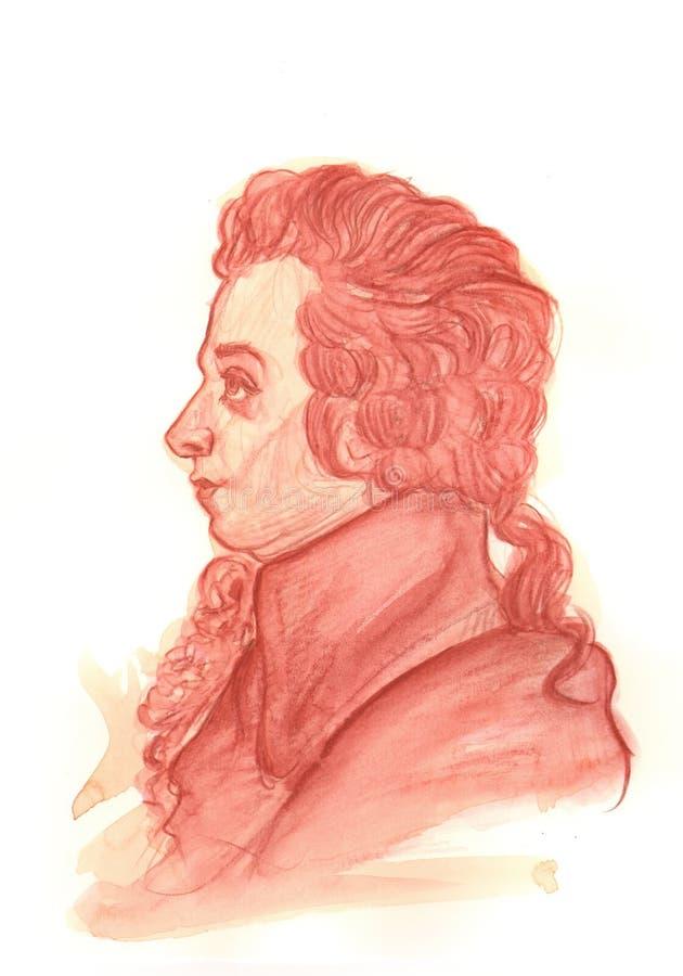 Πορτρέτο του Αμαντέους Μότσαρτ Watercolour διανυσματική απεικόνιση