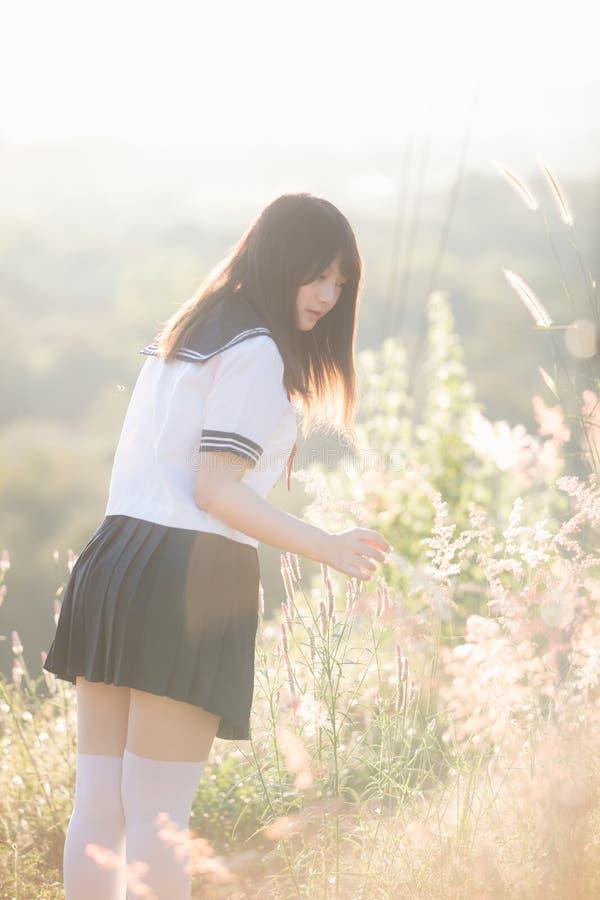 Πορτρέτο του ασιατικού ιαπωνικού κοστουμιού σχολικών κοριτσιών που εξετάζει το πάρκο υπαίθριου στο ηλιοβασίλεμα στοκ εικόνα