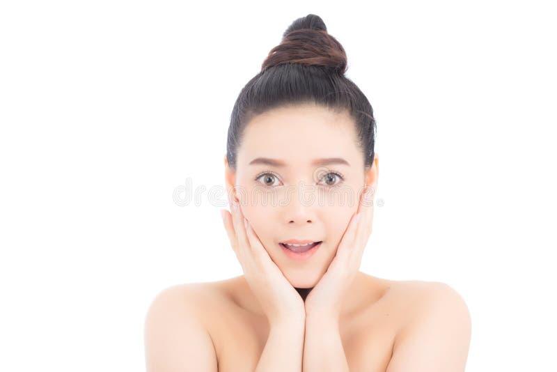 Πορτρέτο του ασιατικού μάγουλου αιφνιδιαστικής λαβής γυναικών με το χέρι, όμορφο κορίτσι με την παρουσίαση του προϊόντος σας με σ στοκ φωτογραφίες