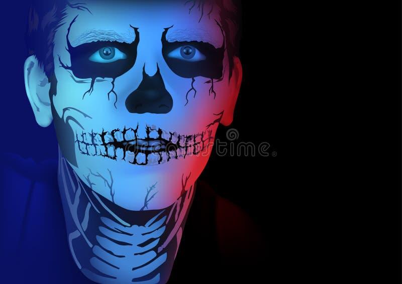Πορτρέτο του ατόμου με το σκελετό makeup διανυσματική απεικόνιση