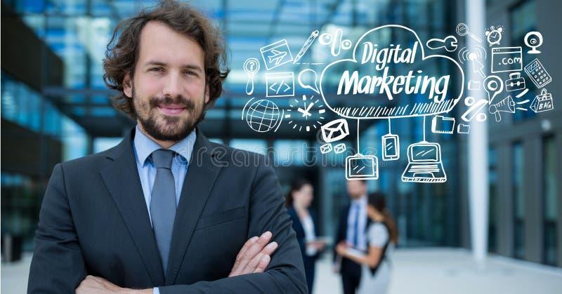 Πορτρέτο του βέβαιου επιχειρηματία με το ψηφιακές μάρκετινγκ και τη γραφική παράσταση στοκ εικόνες με δικαίωμα ελεύθερης χρήσης