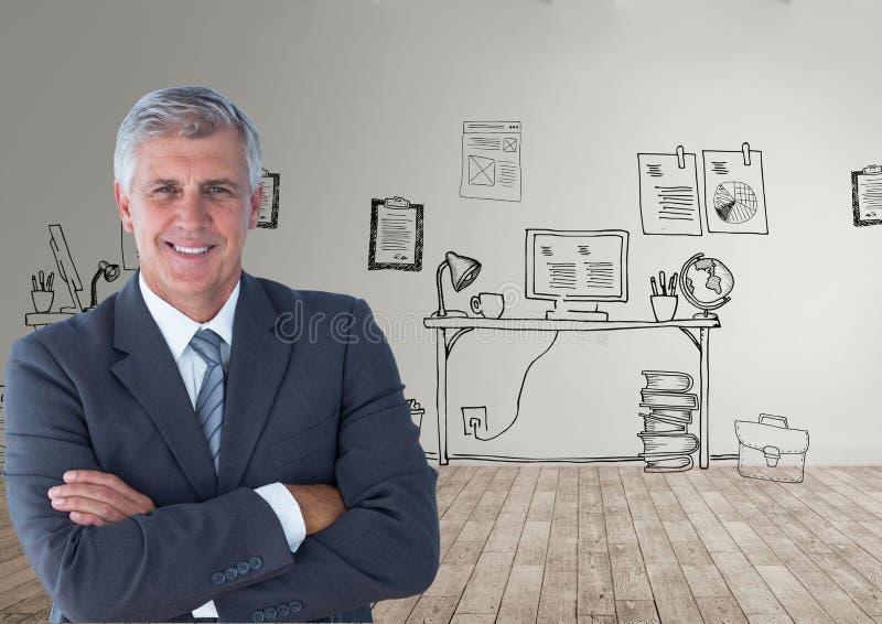 Πορτρέτο του βέβαιου επιχειρηματία που στέκεται στο πάτωμα σκληρού ξύλου ενάντια στα σχέδια γραφείων στοκ εικόνα με δικαίωμα ελεύθερης χρήσης