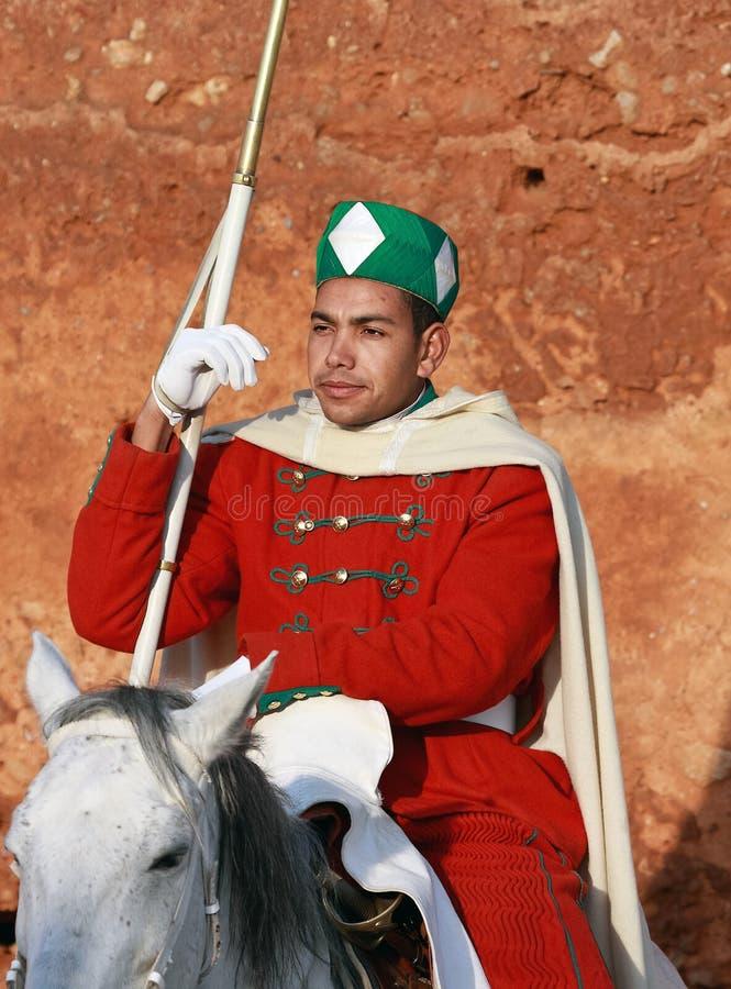 Πορτρέτο του βασιλικού φύλακα, Rabat (Μαρόκο) στοκ εικόνες