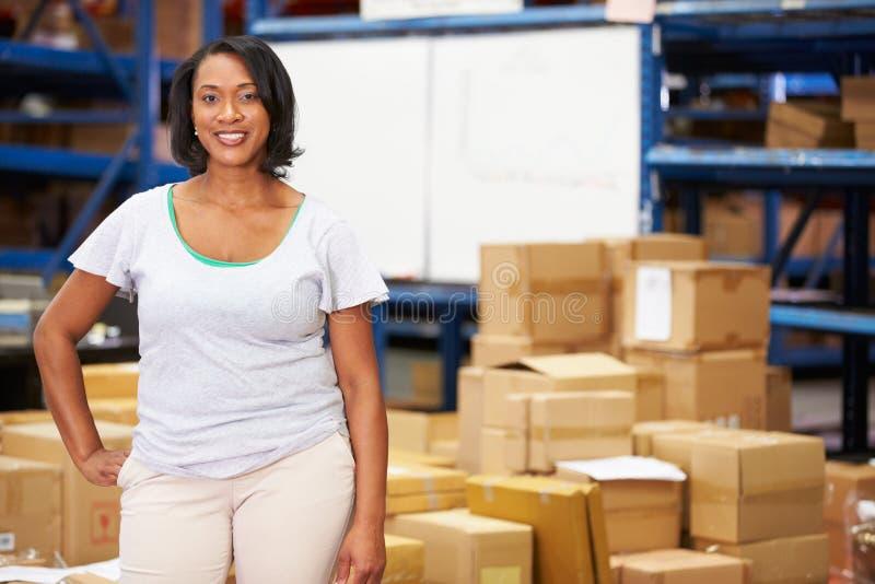Πορτρέτο του εργαζομένου στην αποθήκη εμπορευμάτων διανομής στοκ φωτογραφία με δικαίωμα ελεύθερης χρήσης