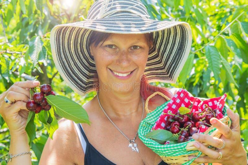 Πορτρέτο του ευτυχούς νέου κηπουρού γυναικών που επιλέγει το γλυκό κεράσι από το δέντρο στοκ εικόνα