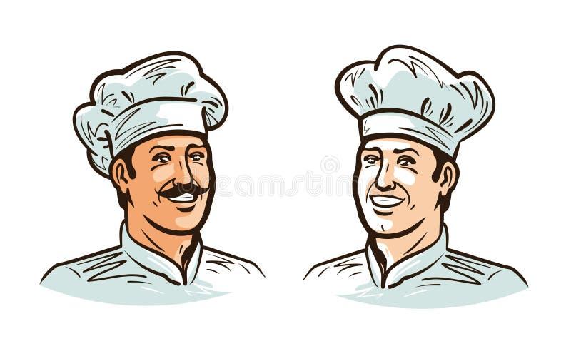 Πορτρέτο του ευτυχούς χαμογελώντας αρχιμάγειρα, του μάγειρα ή του αρτοποιού στο καπέλο η αλλοδαπή γάτα κινούμενων σχεδίων δραπετε διανυσματική απεικόνιση