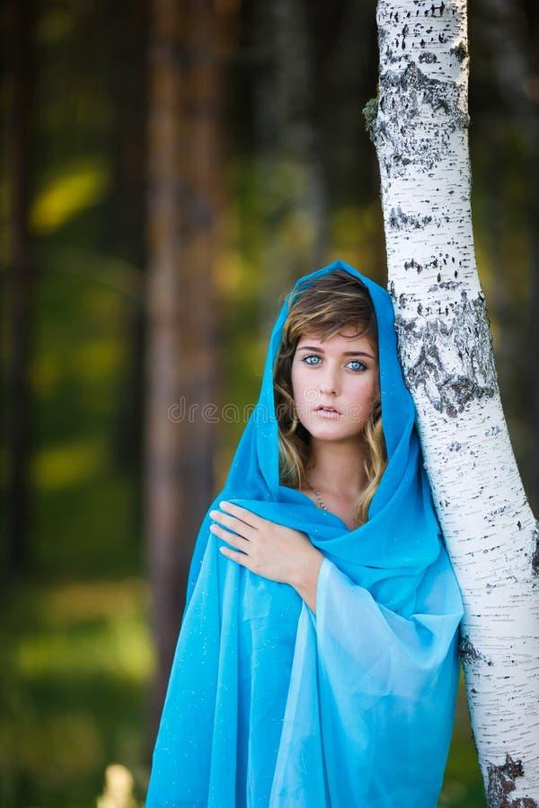 Πορτρέτο του ελκυστικού νέου κοριτσιού στη Sari στοκ φωτογραφίες