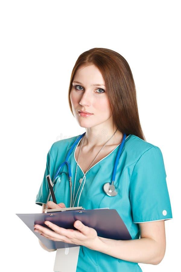 Πορτρέτο του θηλυκού γιατρού στην πράσινη στολή στοκ εικόνα με δικαίωμα ελεύθερης χρήσης