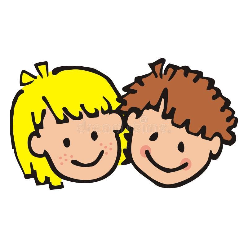 Πορτρέτο του κοριτσιού και του αγοριού, που χρωματίζεται doodle Πρόσωπο χαμόγελου των παιδιών σχέδιο περιγράμματος διανυσματική απεικόνιση