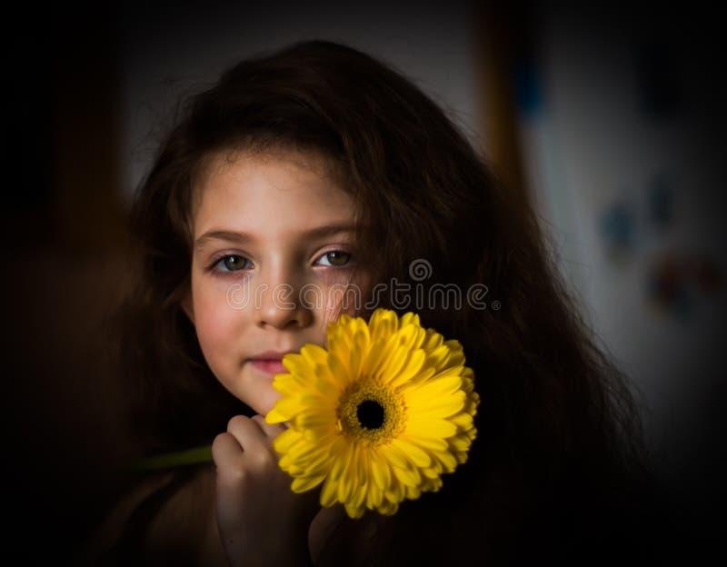 Πορτρέτο του κοριτσιού ομορφιάς με το κίτρινο λουλούδι Gerber στοκ φωτογραφίες με δικαίωμα ελεύθερης χρήσης
