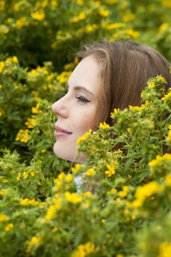 Πορτρέτο του κοριτσιού σε ένα υπόβαθρο των κίτρινων λουλουδιών στοκ εικόνες