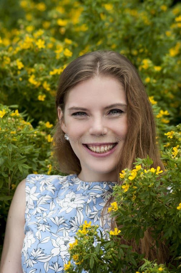 Πορτρέτο του κοριτσιού σε ένα υπόβαθρο των κίτρινων λουλουδιών στοκ εικόνες με δικαίωμα ελεύθερης χρήσης