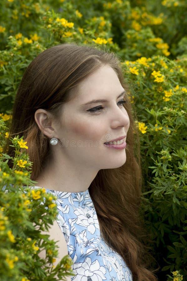 Πορτρέτο του κοριτσιού σε ένα υπόβαθρο των κίτρινων λουλουδιών στοκ εικόνα με δικαίωμα ελεύθερης χρήσης