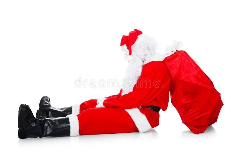 Πορτρέτο του κουρασμένου santa στοκ εικόνες