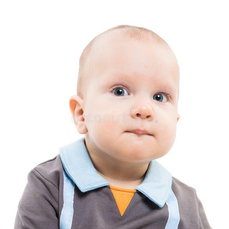 Πορτρέτο του λατρευτού παιδιού ενός έτους βρεφών, που απομονώνεται στο λευκό στοκ εικόνα με δικαίωμα ελεύθερης χρήσης