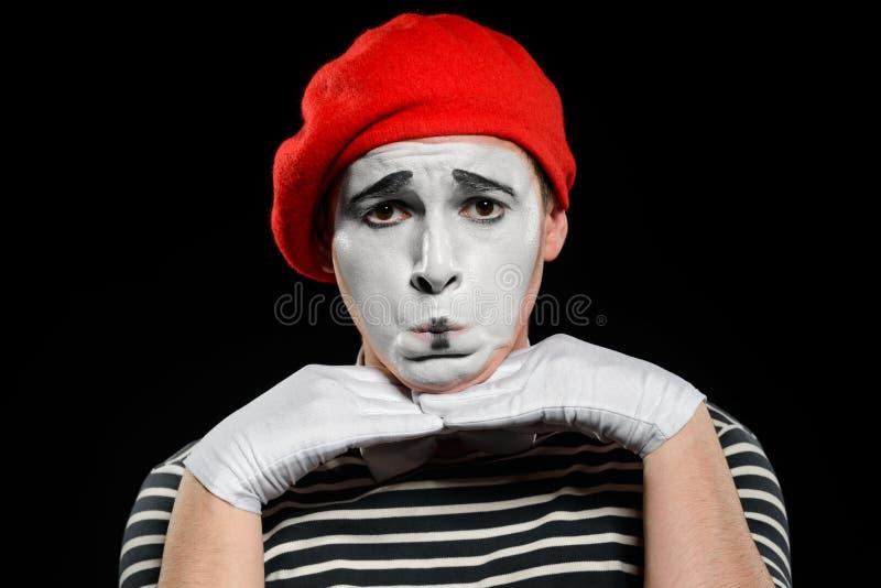 Πορτρέτο του λυπημένου αρσενικού mime στοκ φωτογραφία με δικαίωμα ελεύθερης χρήσης
