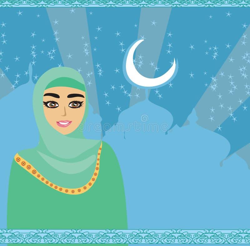 Πορτρέτο του μουσουλμανικού όμορφου κοριτσιού στο hijab διανυσματική απεικόνιση