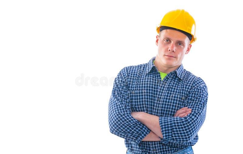 Πορτρέτο του νέου εργάτη οικοδομών που απομονώνεται επάνω στοκ εικόνα με δικαίωμα ελεύθερης χρήσης