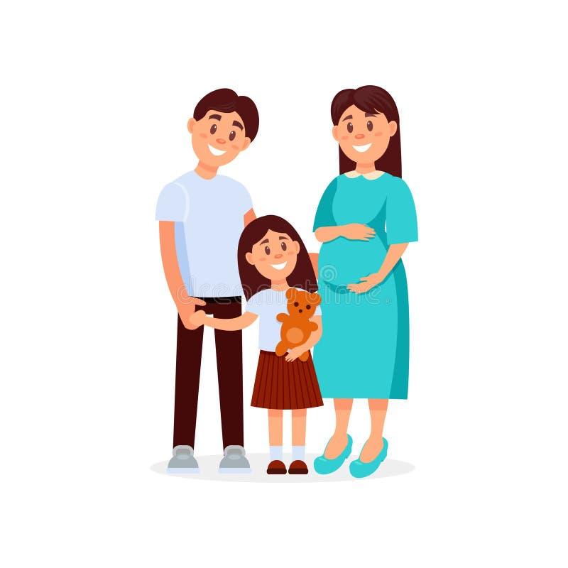 Πορτρέτο του νέου ευτυχούς οικογενειακών πατέρα, της μητέρας και της κόρης έγκυος γυναίκα Άνθρωποι κινούμενων σχεδίων που αναμένο απεικόνιση αποθεμάτων