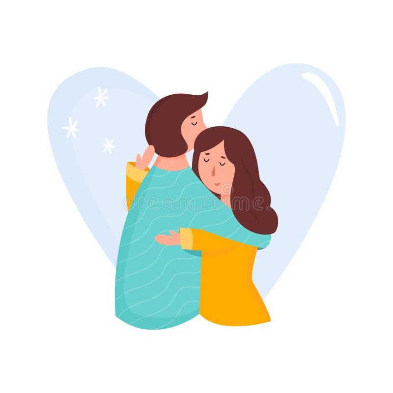 Πορτρέτο του νέου ζεύγους ερωτευμένο Αγκάλιασμα των ανθρώπων απεικόνιση αποθεμάτων
