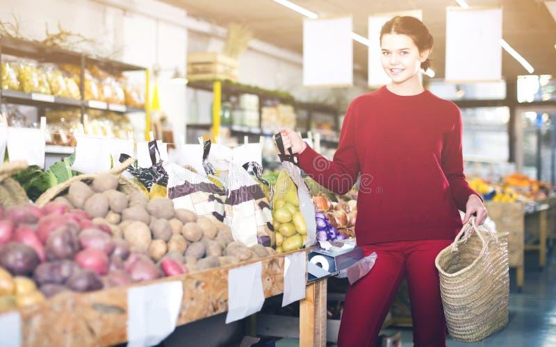 Πορτρέτο του νέου θηλυκού πελάτη στο παντοπωλείο στοκ φωτογραφία με δικαίωμα ελεύθερης χρήσης