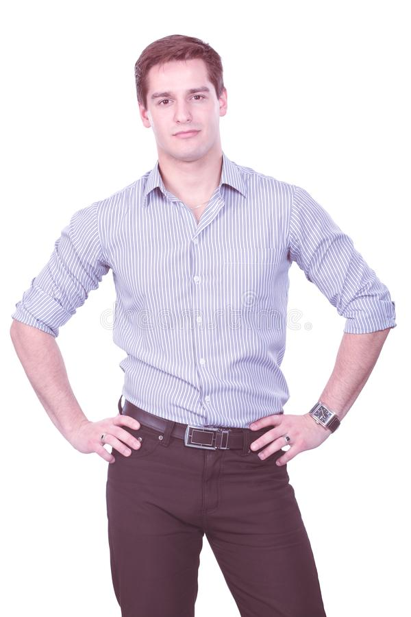Πορτρέτο του νεαρού άνδρα που απομονώνεται στο άσπρο υπόβαθρο στοκ φωτογραφίες