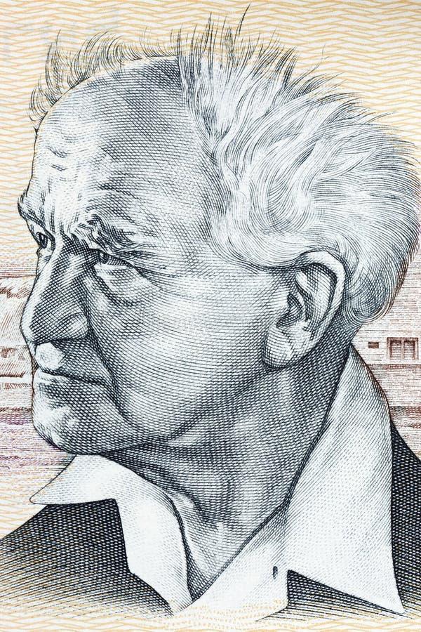 Πορτρέτο του Ντέιβιντ Μπεν Γκουριόν από τα ισραηλινά χρήματα στοκ φωτογραφία με δικαίωμα ελεύθερης χρήσης