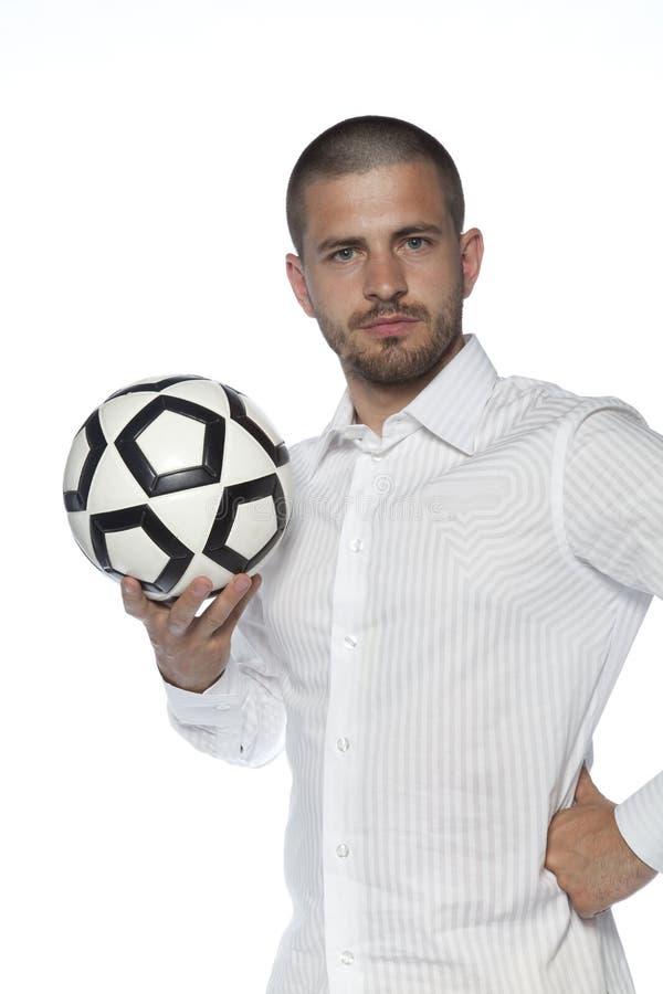 Πορτρέτο του ποδοσφαιριστή, επιχειρησιακό άτομο που απομονώνεται στο υπόβαθρο στοκ εικόνα