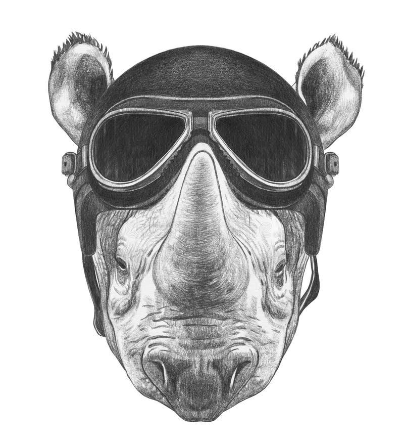 Πορτρέτο του ρινοκέρου με το εκλεκτής ποιότητας κράνος, hand-drawn απεικόνιση διανυσματική απεικόνιση