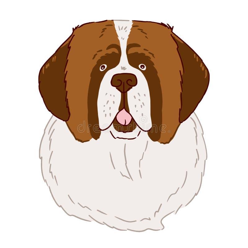 Πορτρέτο του σκυλιού του ST Bernard στο άσπρο υπόβαθρο Διανυσματική απεικόνιση στο απλό ύφος που σύρεται με το χέρι διανυσματική απεικόνιση