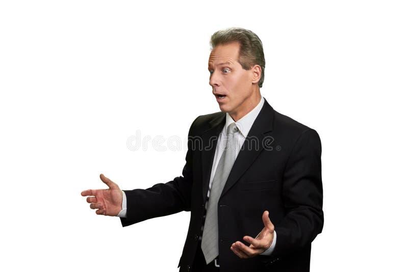 Πορτρέτο του συγκλονισμένου μέσης ηλικίας επιχειρηματία στοκ εικόνες με δικαίωμα ελεύθερης χρήσης