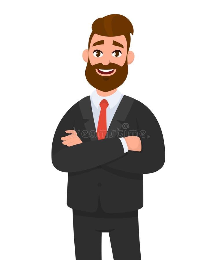 Πορτρέτο του χαμογελώντας βέβαιου επιχειρηματία στη μαύρη επίσημη ένδυση με τα όπλα που διασχίζονται που απομονώνεται στο άσπρο υ διανυσματική απεικόνιση