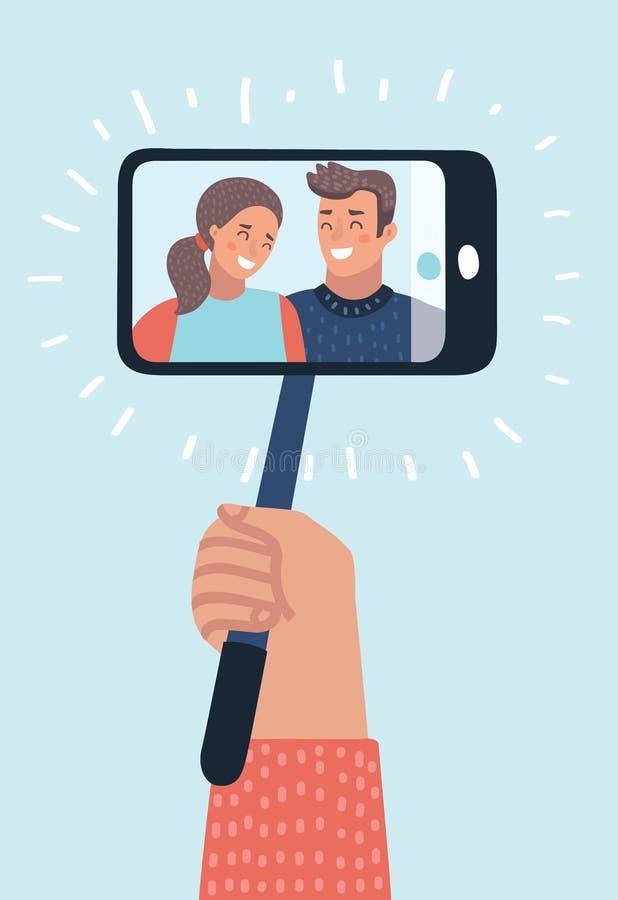 Πορτρέτο του χαμογελώντας νέου ζεύγους στο smartphone Ραβδί Selfie monopod ελεύθερη απεικόνιση δικαιώματος