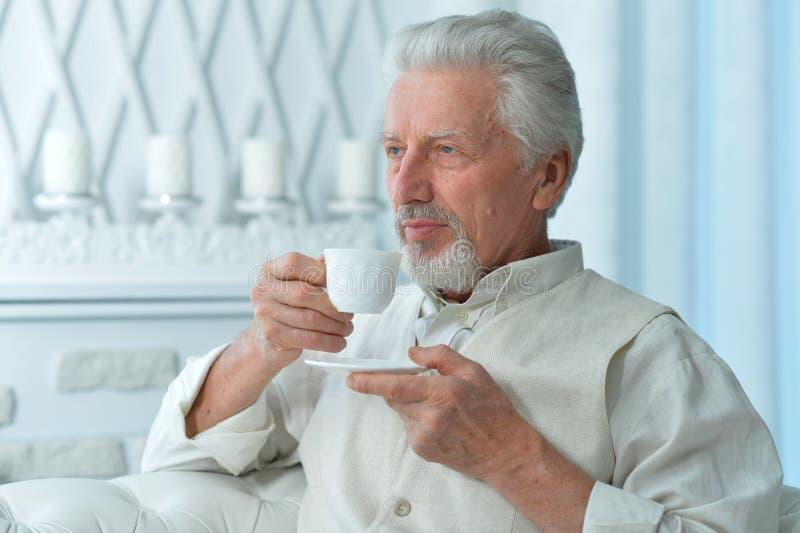 Πορτρέτο του χαμόγελου του ανώτερου καφέ κατανάλωσης ατόμων στοκ εικόνες