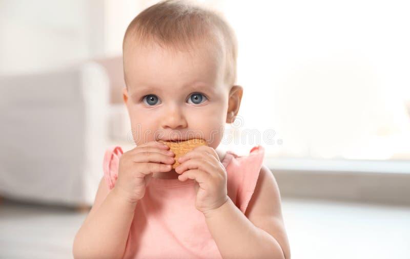Πορτρέτο του χαριτωμένου κοριτσάκι με το μπισκότο στοκ εικόνες με δικαίωμα ελεύθερης χρήσης
