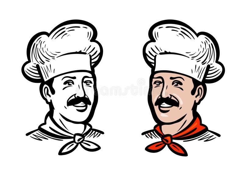 Πορτρέτο του χαρούμενου αρχιμάγειρα ή του αρτοποιού, λογότυπο Ετικέτα ή εικονίδιο για το εστιατόριο ή τον καφέ επιλογών σχεδίου ε απεικόνιση αποθεμάτων