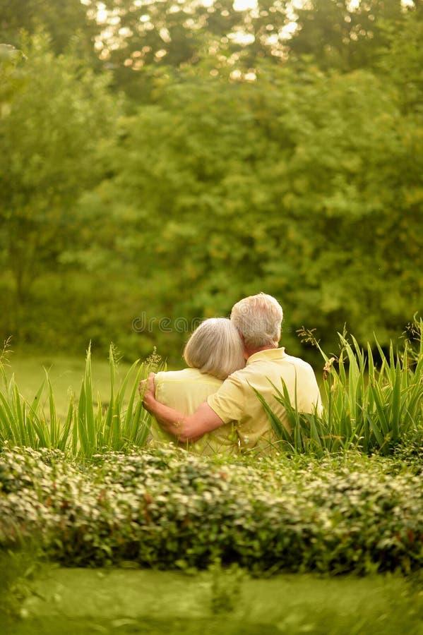 Πορτρέτο του όμορφου ανώτερου ζεύγους που αγκαλιάζει στο πάρκο στοκ εικόνες