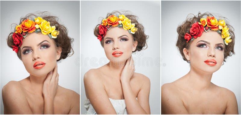 Πορτρέτο του όμορφου κοριτσιού στο στούντιο με τα κίτρινα και κόκκινα τριαντάφυλλα στην τρίχα και τους γυμνούς ώμους της Προκλητι στοκ φωτογραφία