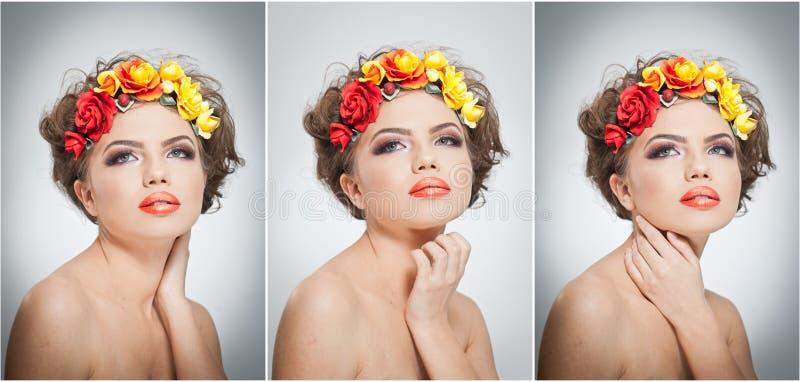 Πορτρέτο του όμορφου κοριτσιού στο στούντιο με τα κίτρινα και κόκκινα τριαντάφυλλα στην τρίχα και τους γυμνούς ώμους της Προκλητι στοκ φωτογραφία με δικαίωμα ελεύθερης χρήσης