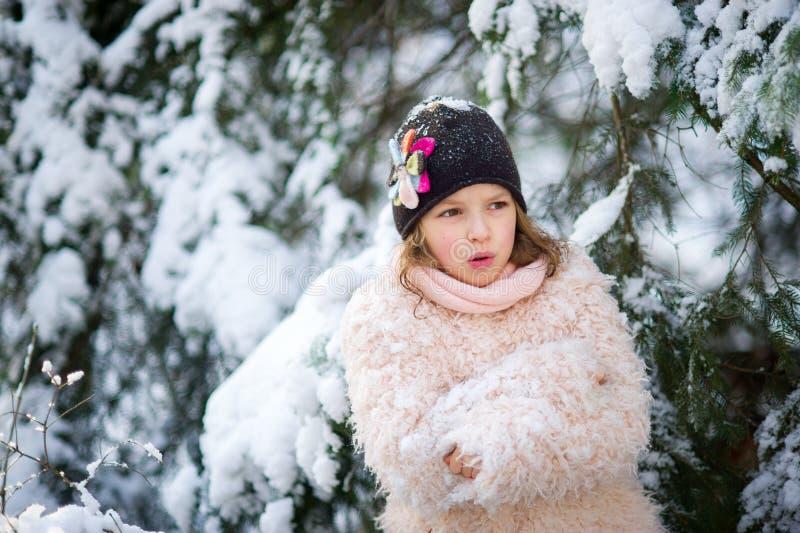 Πορτρέτο του όμορφου κοριτσιού της ηλικίας στα πλαίσια χιονισμένο fir-tree στοκ φωτογραφίες με δικαίωμα ελεύθερης χρήσης