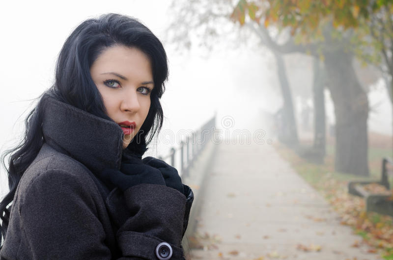 Πορτρέτο του όμορφου κοριτσιού υπαίθριο τη misty ημέρα φθινοπώρου στοκ εικόνες