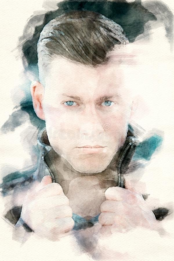 Πορτρέτο του όμορφου ξανθού νεαρού άνδρα ελεύθερη απεικόνιση δικαιώματος