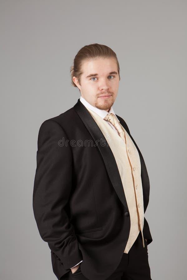 Πορτρέτο του όμορφου χαμογελώντας νεαρού άνδρα σε ένα σμόκιν Μοντέρνος ιματισμός για το εορταστικό βράδυ στοκ φωτογραφίες με δικαίωμα ελεύθερης χρήσης