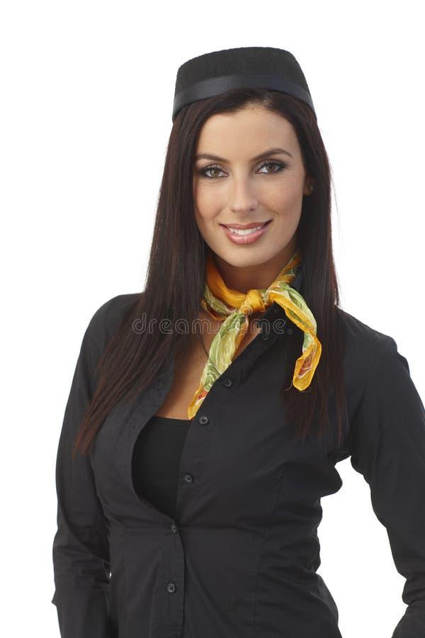 Πορτρέτο του όμορφου χαμόγελου αεροσυνοδών στοκ εικόνα με δικαίωμα ελεύθερης χρήσης
