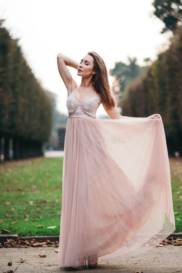 Πορτρέτο του όμορφου brunette στο μακρύ ρόδινο φόρεμα σιφόν στοκ εικόνα