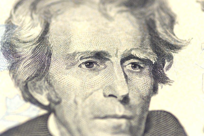 Πορτρέτο του Andrew Τζάκσον από μας 20 δολάρια στοκ φωτογραφία