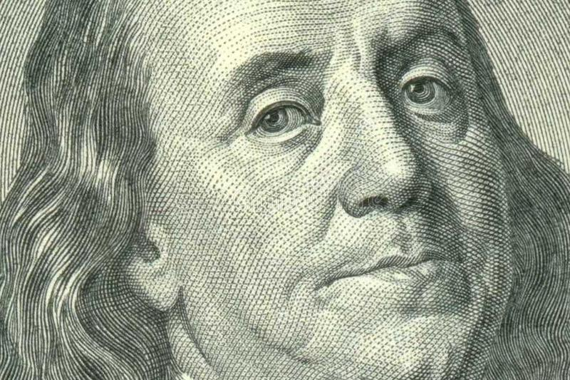 Πορτρέτο του Benjamin Franklin εκατό στο δολάριο Μπιλ στοκ φωτογραφία με δικαίωμα ελεύθερης χρήσης